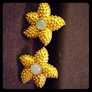 "Vintage Signed ""Julie"" gold Starfish earrings"